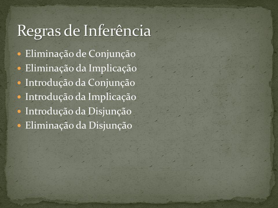 Eliminação de Conjunção Eliminação da Implicação Introdução da Conjunção Introdução da Implicação Introdução da Disjunção Eliminação da Disjunção