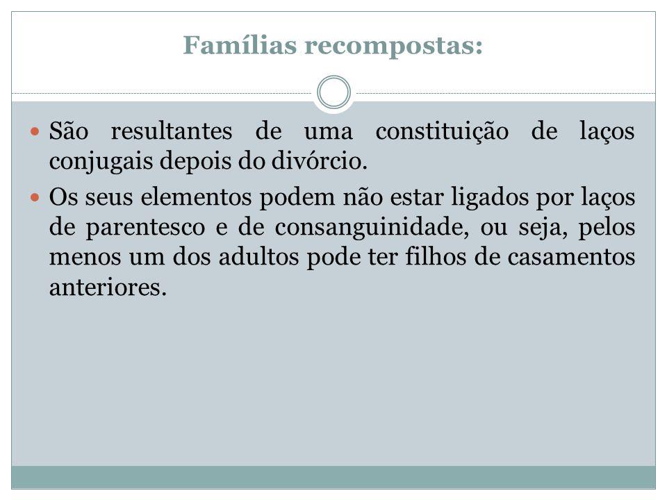 Famílias recompostas: São resultantes de uma constituição de laços conjugais depois do divórcio. Os seus elementos podem não estar ligados por laços d