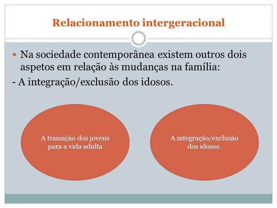 Relacionamento intergeracional Na sociedade contemporânea existem outros dois aspetos em relação às mudanças na família: - A integração/exclusão dos i