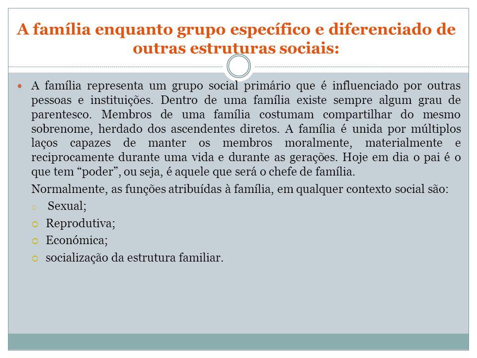 A família enquanto grupo específico e diferenciado de outras estruturas sociais: A família representa um grupo social primário que é influenciado por