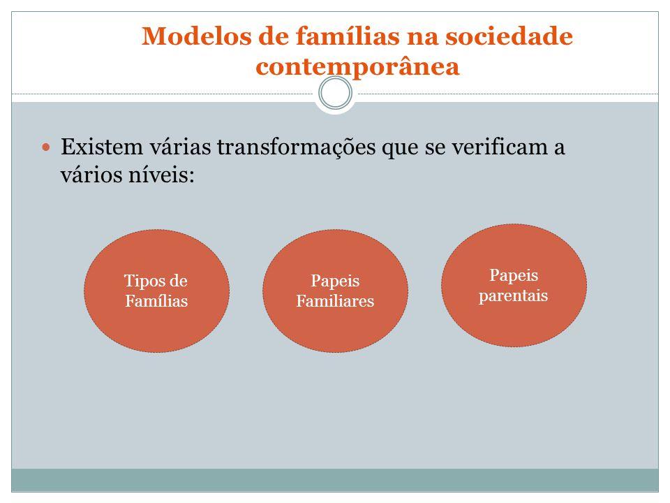 Modelos de famílias na sociedade contemporânea Existem várias transformações que se verificam a vários níveis: Tipos de Famílias Papeis Familiares Pap