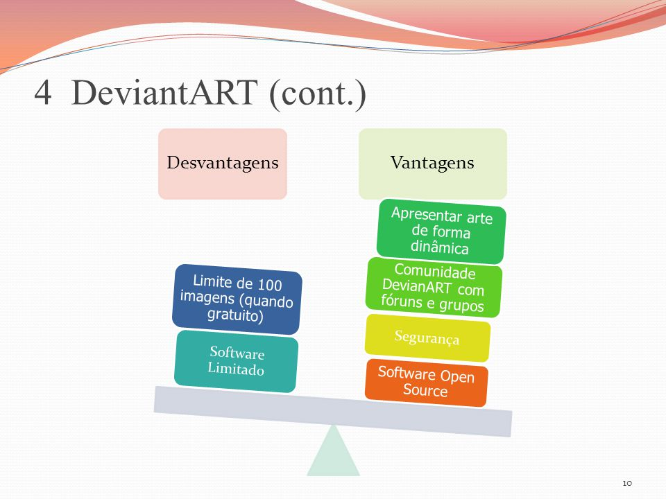 4 DeviantART (cont.) DesvantagensVantagens Software Open Source Segurança Comunidade DevianART com fóruns e grupos Apresentar arte de forma dinâmica S