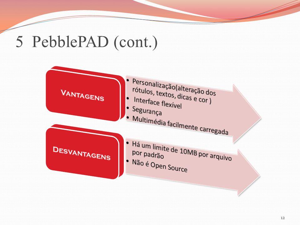 5 PebblePAD (cont.) 12