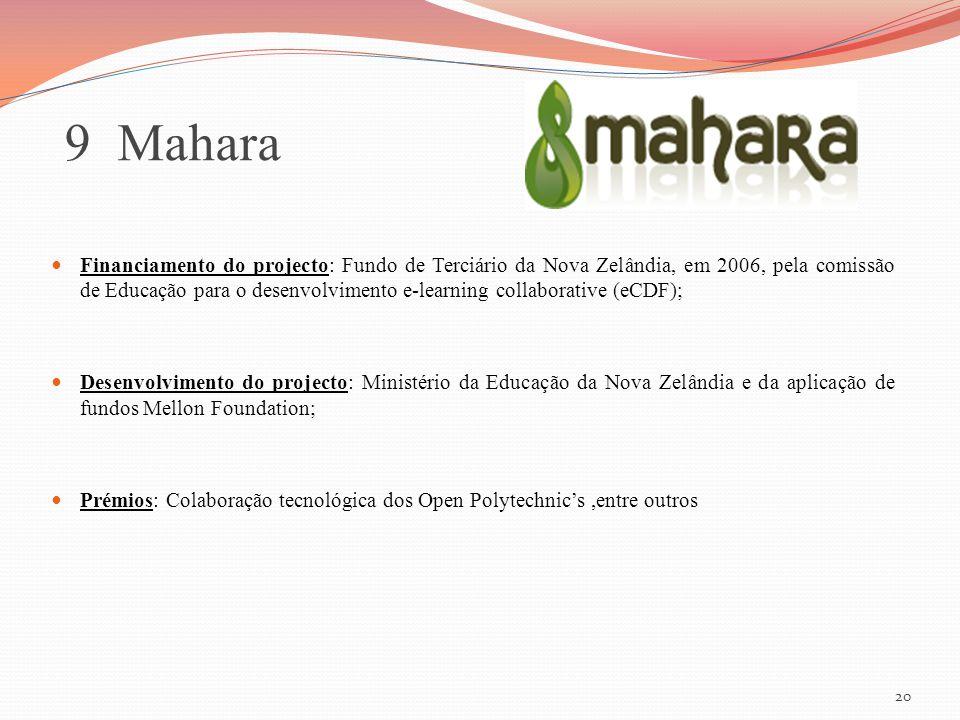 20 9 Mahara Financiamento do projecto: Fundo de Terciário da Nova Zelândia, em 2006, pela comissão de Educação para o desenvolvimento e-learning colla