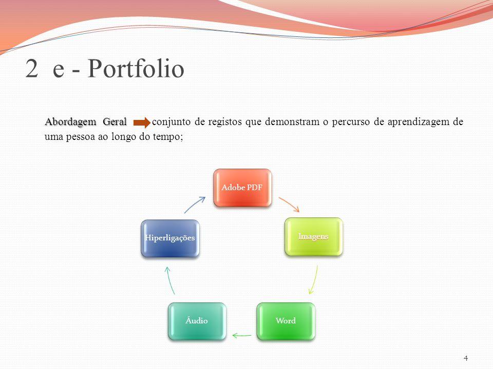 2 e - Portfolio Abordagem Geral Abordagem Geral conjunto de registos que demonstram o percurso de aprendizagem de uma pessoa ao longo do tempo; Adobe