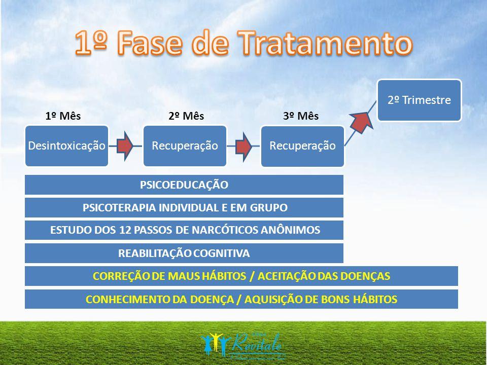 1º Mês2º Mês3º Mês REABILITAÇÃO COGNITIVA PSICOTERAPIA INDIVIDUAL E EM GRUPO PSICOEDUCAÇÃO ESTUDO DOS 12 PASSOS DE NARCÓTICOS ANÔNIMOS CORREÇÃO DE MAUS HÁBITOS / ACEITAÇÃO DAS DOENÇAS CONHECIMENTO DA DOENÇA / AQUISIÇÃO DE BONS HÁBITOS