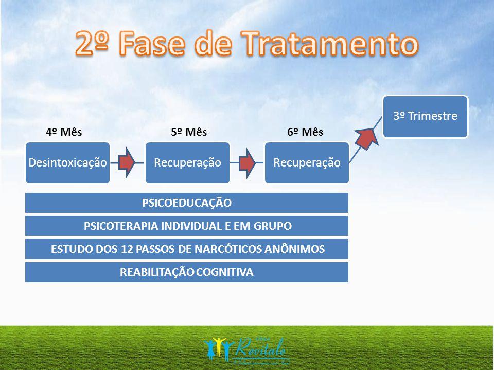 REABILITAÇÃO COGNITIVA PSICOTERAPIA INDIVIDUAL E EM GRUPO PSICOEDUCAÇÃO ESTUDO DOS 12 PASSOS DE NARCÓTICOS ANÔNIMOS DesintoxicaçãoRecuperação 3º Trimestre 4º Mês5º Mês6º Mês