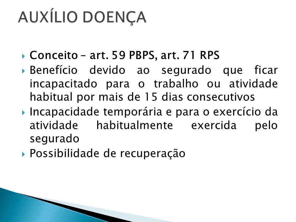 Conceito – art. 59 PBPS, art. 71 RPS Benefício devido ao segurado que ficar incapacitado para o trabalho ou atividade habitual por mais de 15 dias con