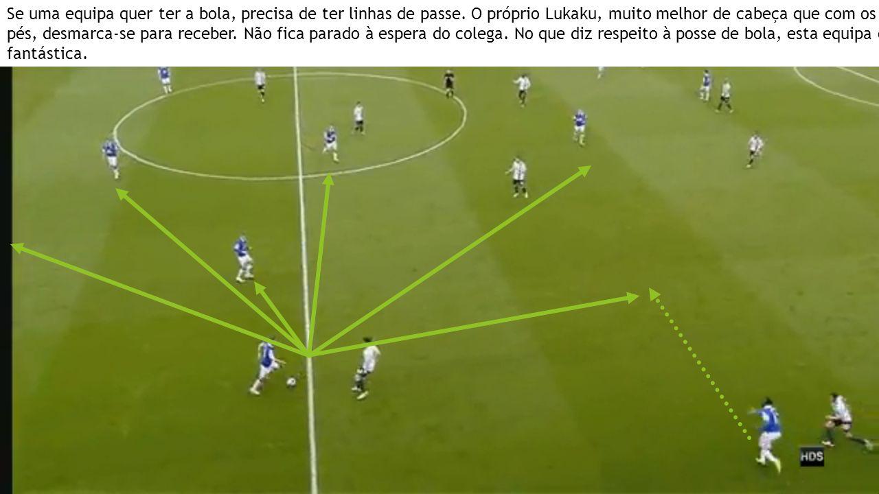 Se uma equipa quer ter a bola, precisa de ter linhas de passe. O próprio Lukaku, muito melhor de cabeça que com os pés, desmarca-se para receber. Não