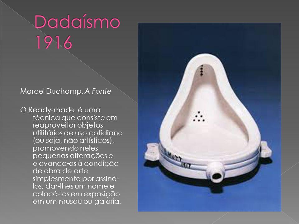 Marcel Duchamp, A Fonte O Ready-made é uma técnica que consiste em reaproveitar objetos utilitários de uso cotidiano (ou seja, não artísticos), promov