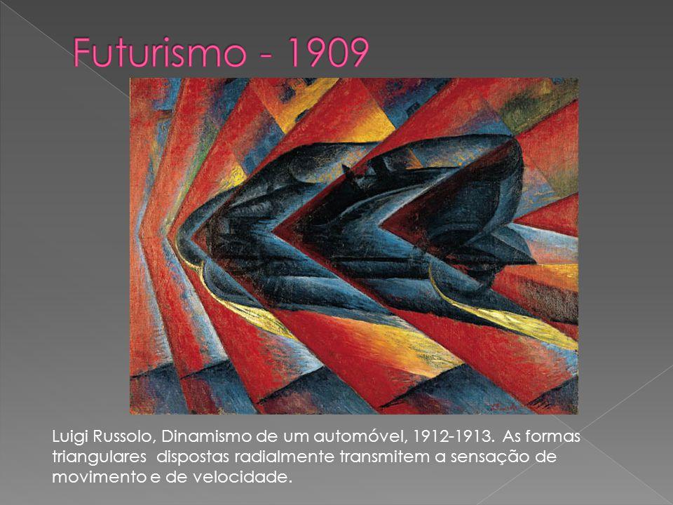 Luigi Russolo, Dinamismo de um automóvel, 1912-1913. As formas triangulares dispostas radialmente transmitem a sensação de movimento e de velocidade.