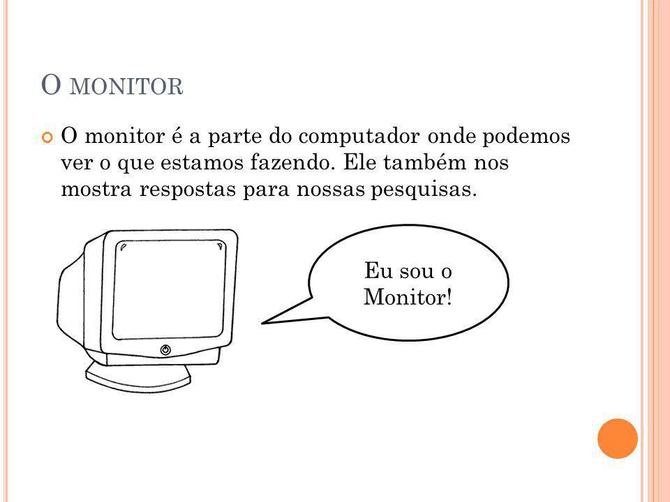 O MONITOR O monitor é a parte do computador onde podemos ver o que estamos fazendo. Ele também nos mostra respostas para nossas pesquisas. Eu sou o Mo