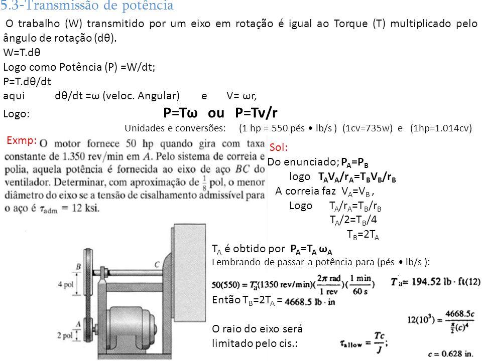 5.3-Transmissão de potência O trabalho (W) transmitido por um eixo em rotação é igual ao Torque (T) multiplicado pelo ângulo de rotação (dθ). W=T.dθ L