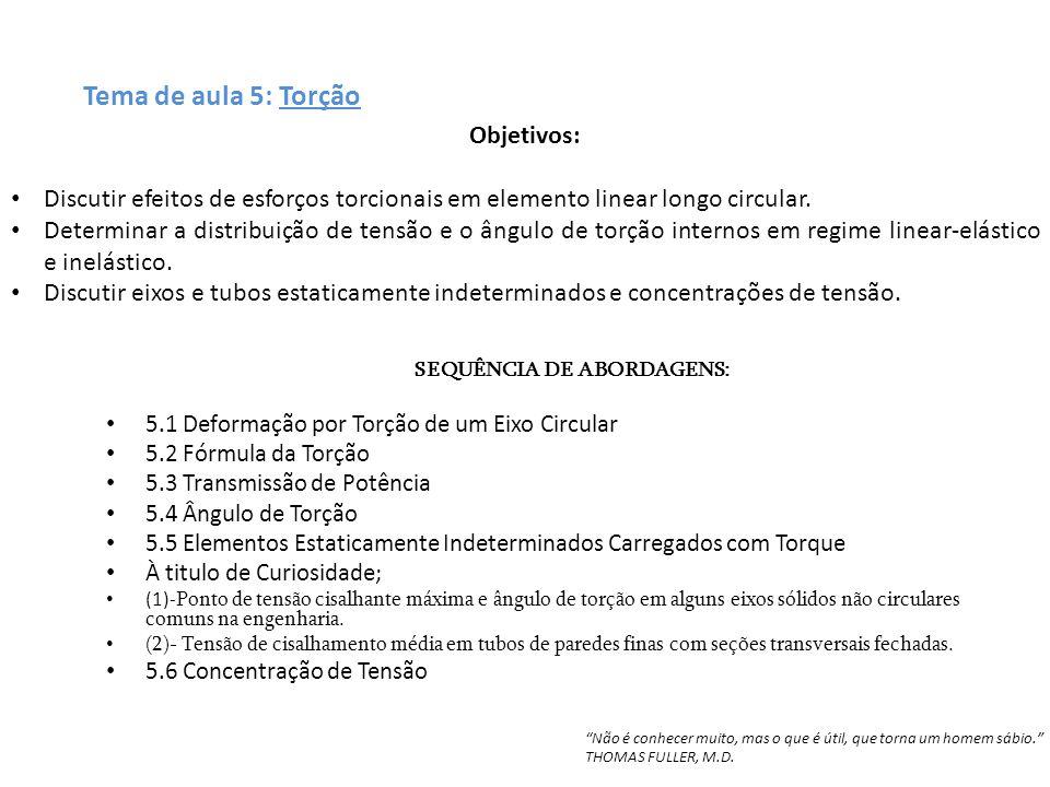 Tema de aula 5: Torção SEQUÊNCIA DE ABORDAGENS: 5.1 Deformação por Torção de um Eixo Circular 5.2 Fórmula da Torção 5.3 Transmissão de Potência 5.4 Ân