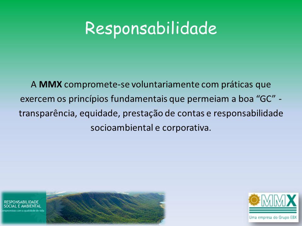 Responsabilidade A MMX compromete-se voluntariamente com práticas que exercem os princípios fundamentais que permeiam a boa GC - transparência, equida