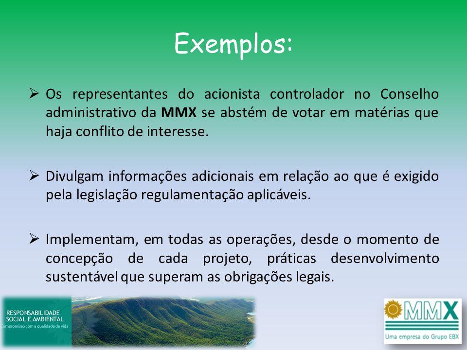 Exemplos: Os representantes do acionista controlador no Conselho administrativo da MMX se abstém de votar em matérias que haja conflito de interesse.
