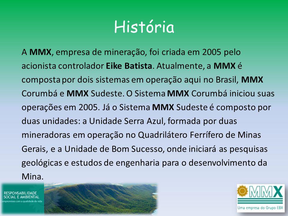 História A MMX, empresa de mineração, foi criada em 2005 pelo acionista controlador Eike Batista. Atualmente, a MMX é composta por dois sistemas em op