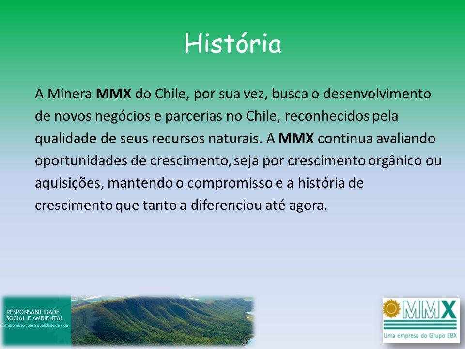 História A Minera MMX do Chile, por sua vez, busca o desenvolvimento de novos negócios e parcerias no Chile, reconhecidos pela qualidade de seus recur