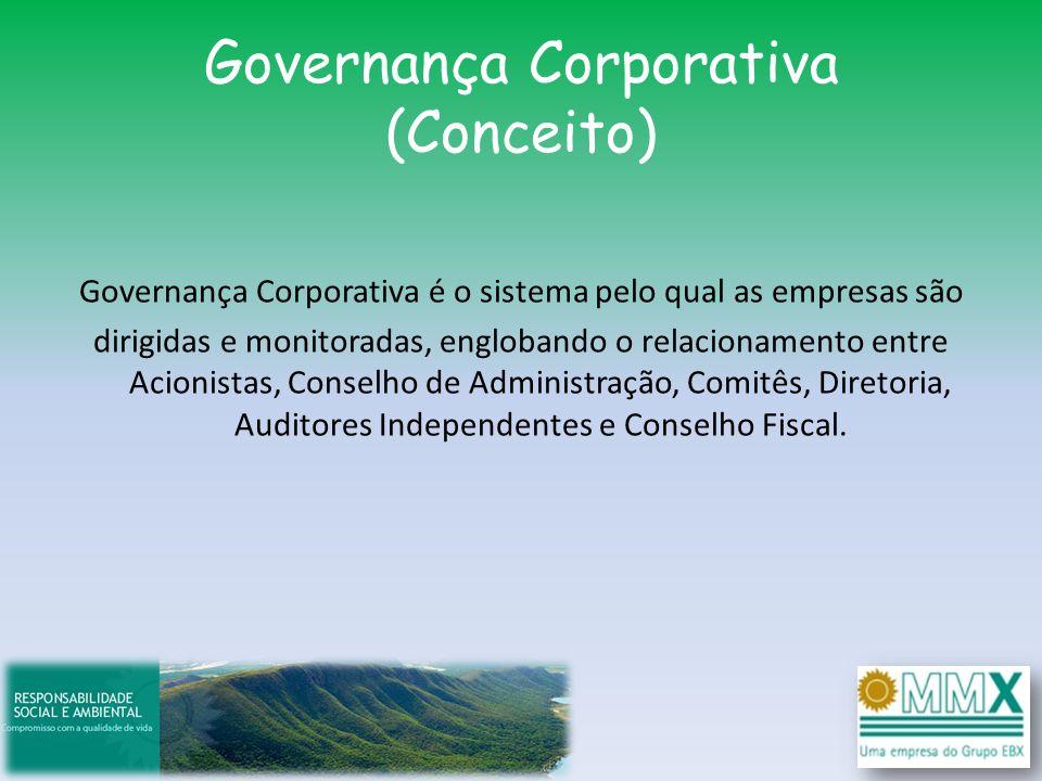 Governança Corporativa (Conceito) Governança Corporativa é o sistema pelo qual as empresas são dirigidas e monitoradas, englobando o relacionamento en