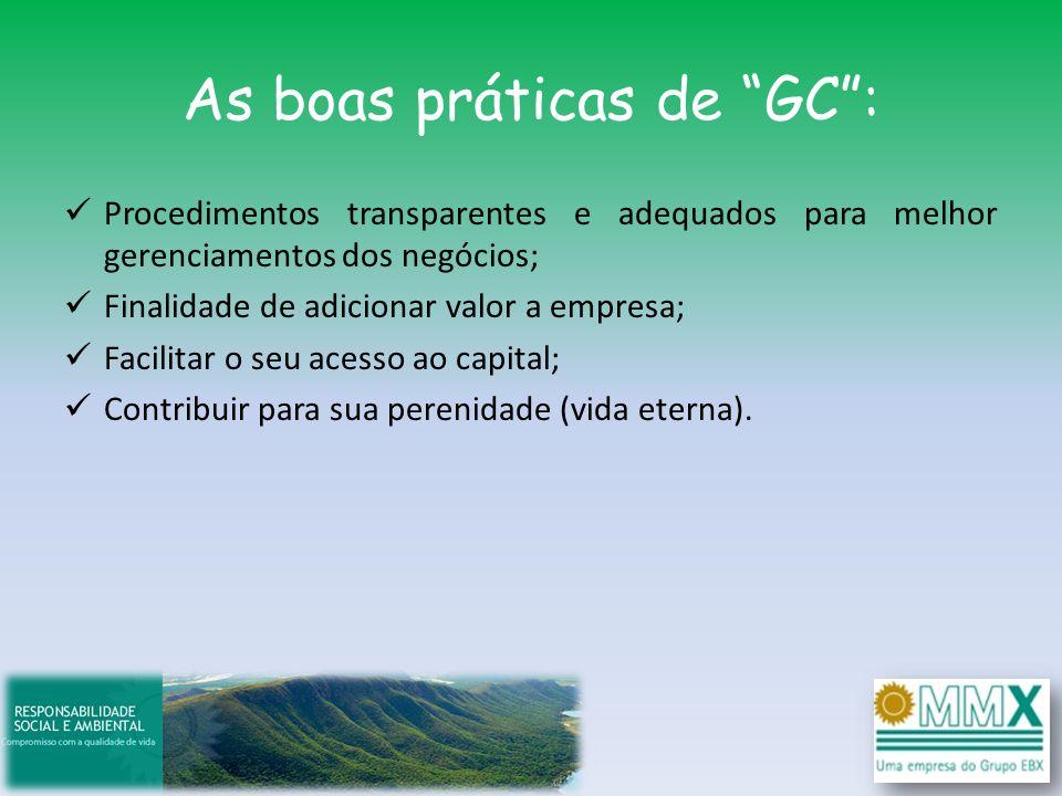 As boas práticas de GC: Procedimentos transparentes e adequados para melhor gerenciamentos dos negócios; Finalidade de adicionar valor a empresa; Faci