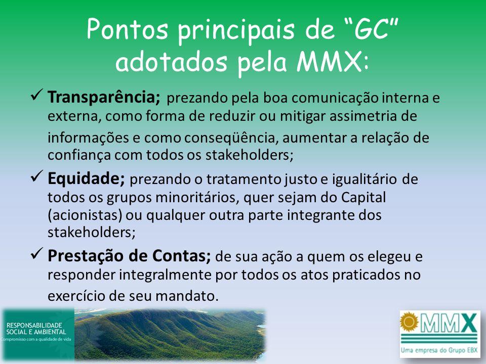 Pontos principais de GC adotados pela MMX: Transparência; prezando pela boa comunicação interna e externa, como forma de reduzir ou mitigar assimetria