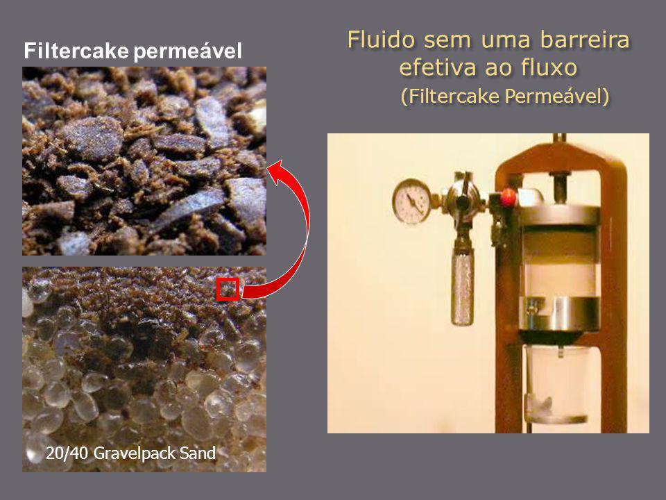 Fluido sem uma barreira efetiva ao fluxo (Filtercake Permeável) Filtercake permeável 20/40 Gravelpack Sand