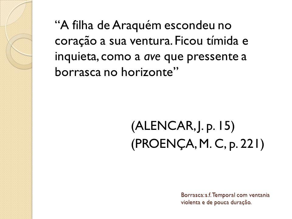 Na cena da chegada de Martim à cabana de Araquém: A virgem aponta o estrangeiro e diz: / Ele veio, pai / - Veio bem.