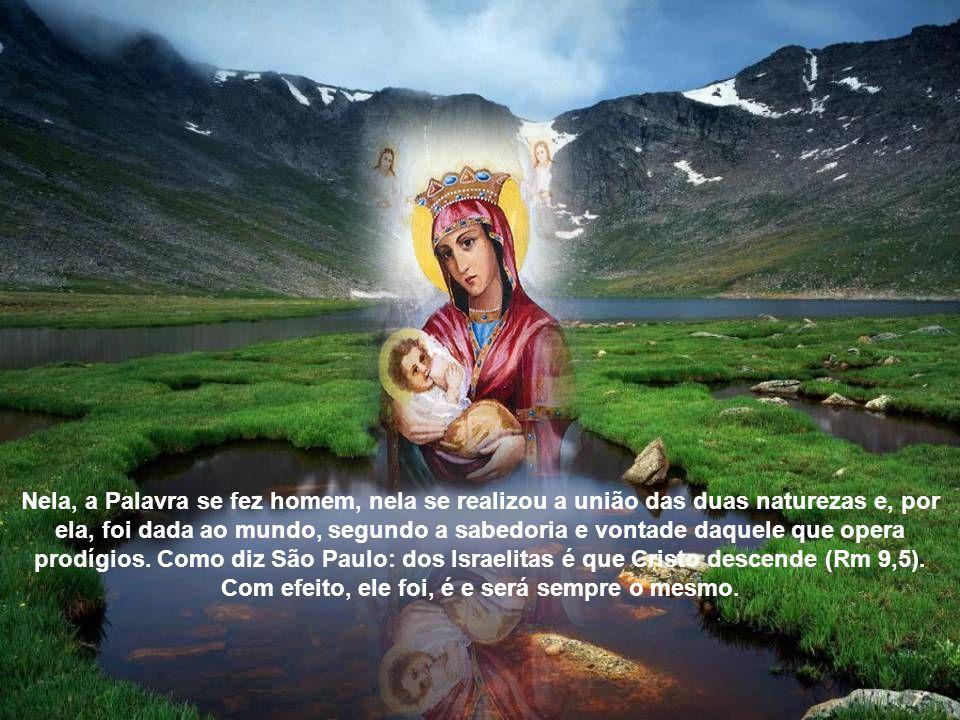 Ela é Virgem e Mãe porque gerou a Palavra encarnada sem participação de homem.