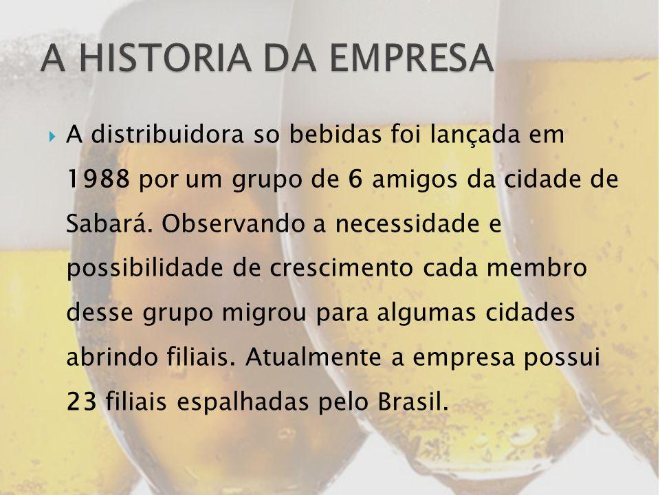 A distribuidora so bebidas foi lançada em 1988 por um grupo de 6 amigos da cidade de Sabará. Observando a necessidade e possibilidade de crescimento c
