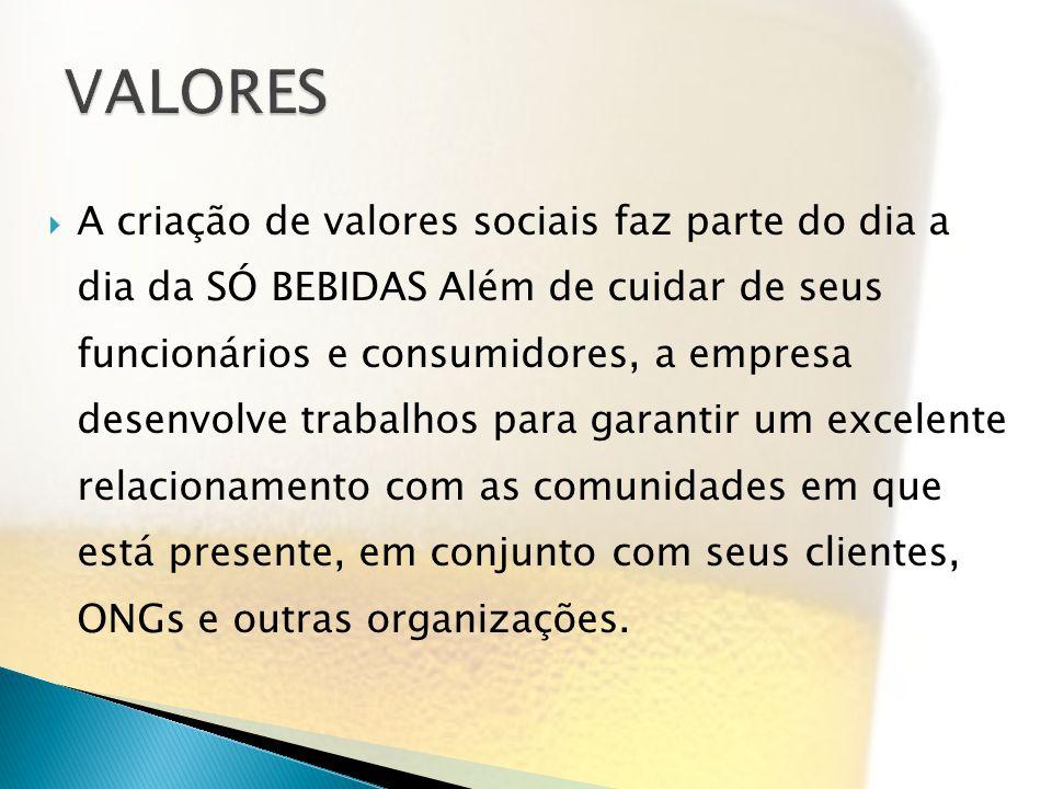 A criação de valores sociais faz parte do dia a dia da SÓ BEBIDAS Além de cuidar de seus funcionários e consumidores, a empresa desenvolve trabalhos p