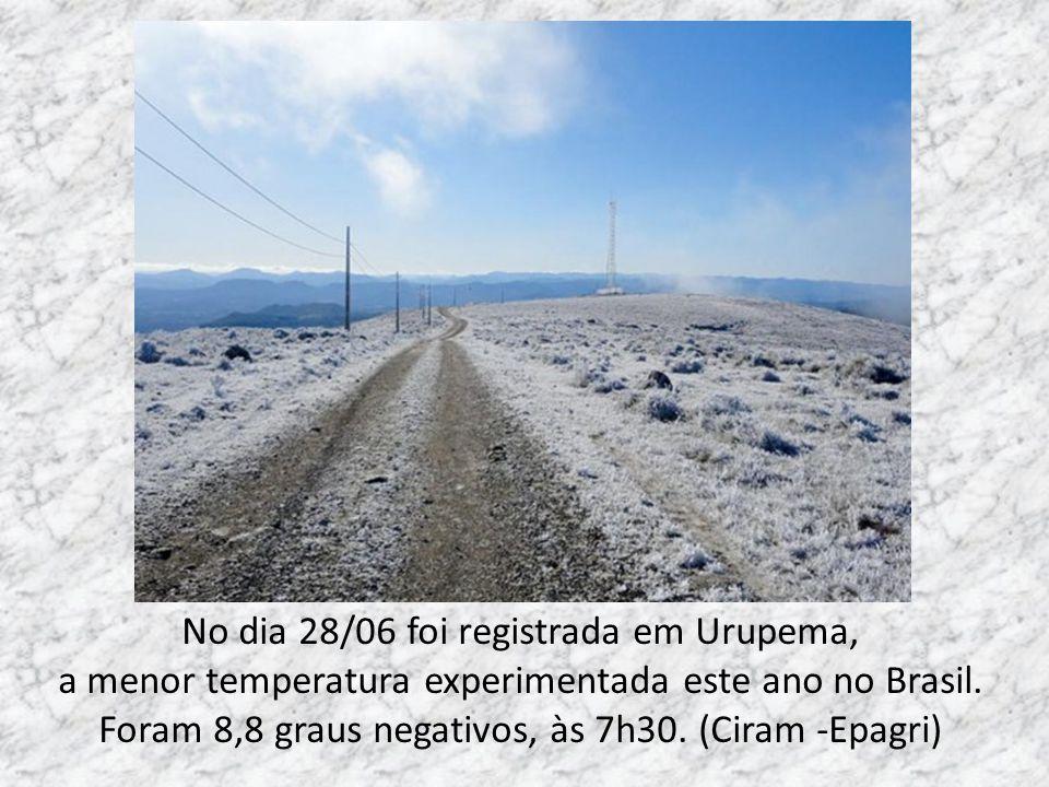 No dia 28/06 foi registrada em Urupema, a menor temperatura experimentada este ano no Brasil.