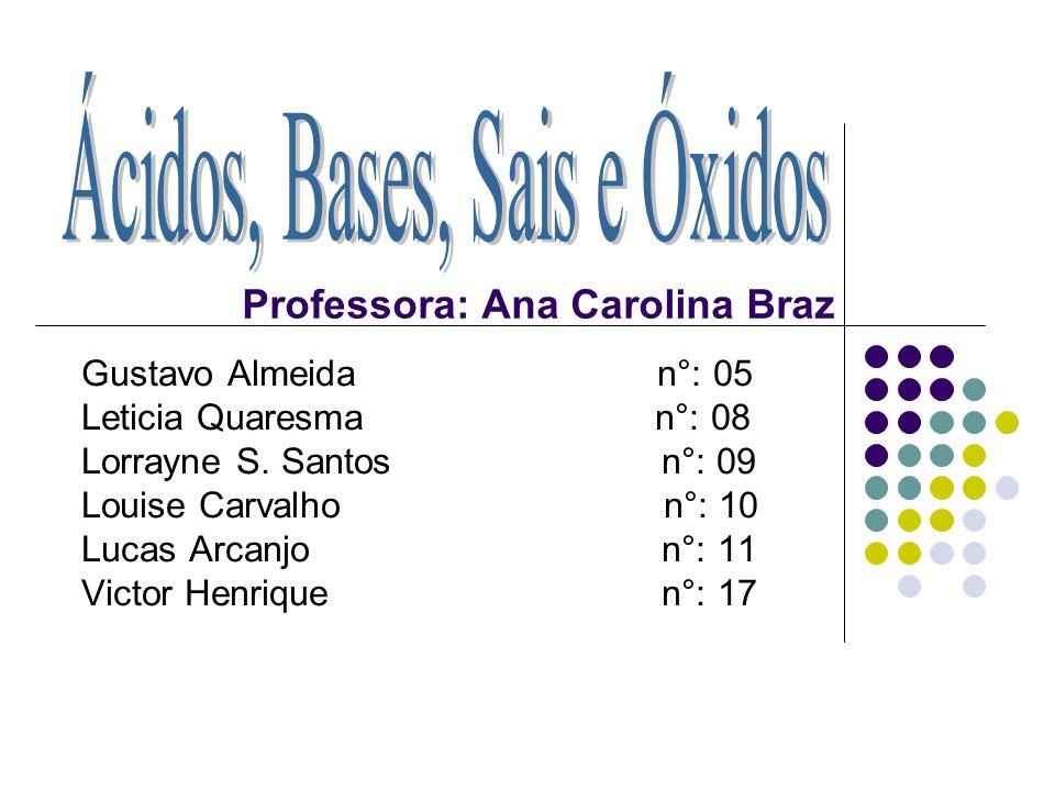 Professora: Ana Carolina Braz Gustavo Almeida n°: 05 Leticia Quaresma n°: 08 Lorrayne S. Santos n°: 09 Louise Carvalho n°: 10 Lucas Arcanjo n°: 11 Vic