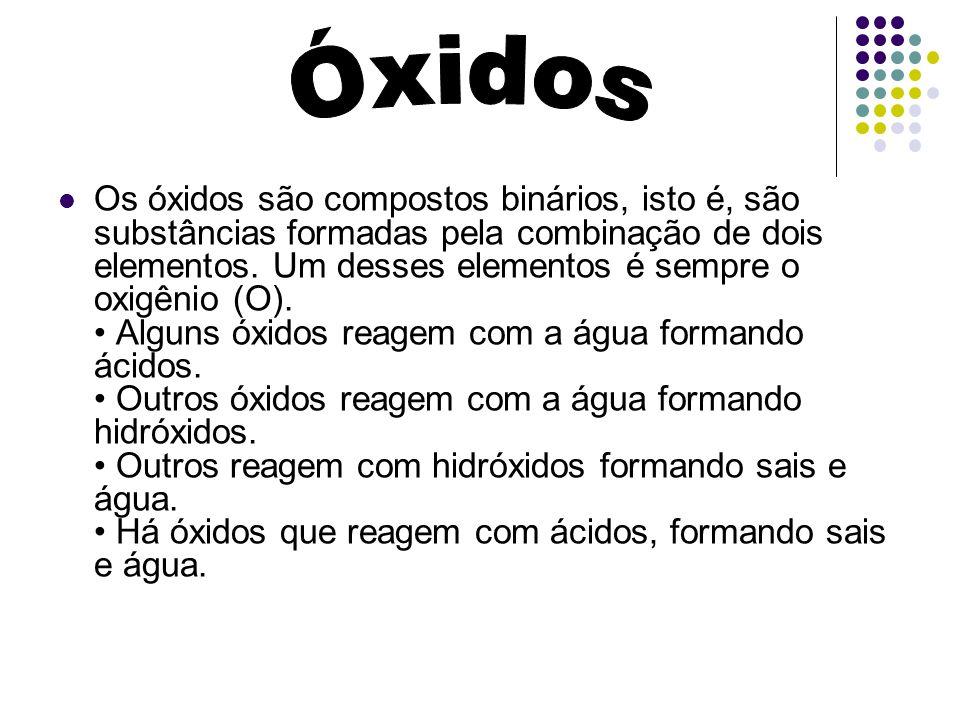 Os óxidos são compostos binários, isto é, são substâncias formadas pela combinação de dois elementos. Um desses elementos é sempre o oxigênio (O). Alg