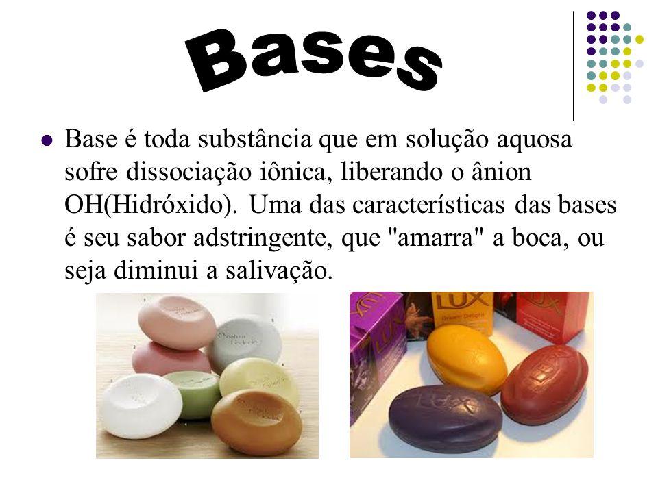 Base é toda substância que em solução aquosa sofre dissociação iônica, liberando o ânion OH(Hidróxido). Uma das características das bases é seu sabor