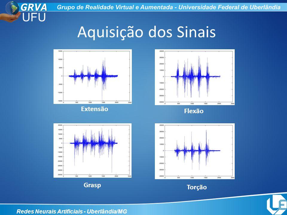 Extração das Características Redes Neurais Artificiais - Uberlândia/MG MAV – Mean Absolute Value MAVS – Mean Absolute Value Slope SSC – Slope Singing Changes ZC – Zero Crossing WL – Waveform Length