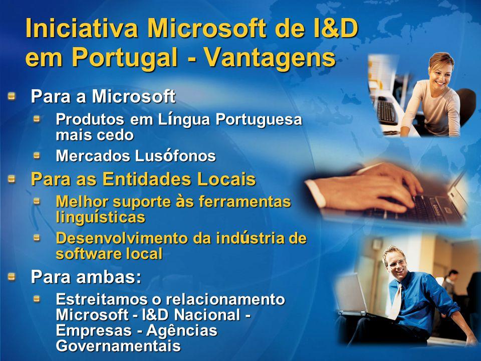 Iniciativa Microsoft de I&D em Portugal - Vantagens Para a Microsoft Produtos em L í ngua Portuguesa mais cedo Mercados Lus ó fonos Para as Entidades