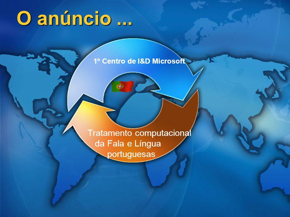 O anúncio... 1º Centro de I&D Microsoft Tratamento computacional da Fala e Língua portuguesas
