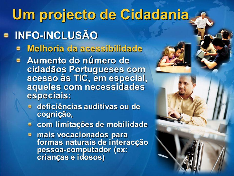 Um projecto de Cidadania INFO-INCLUSÃO Melhoria da acessibilidade Aumento do n ú mero de cidadãos Portugueses com acesso à s TIC, em especial, aqueles