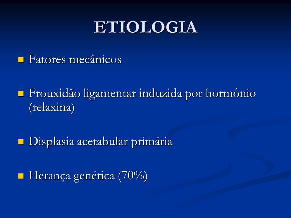 ETIOLOGIA Fatores mecânicos Fatores mecânicos Frouxidão ligamentar induzida por hormônio (relaxina) Frouxidão ligamentar induzida por hormônio (relaxi
