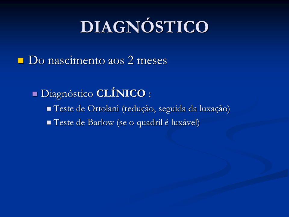 DIAGNÓSTICO Do nascimento aos 2 meses Do nascimento aos 2 meses Diagnóstico CLÍNICO : Diagnóstico CLÍNICO : Teste de Ortolani (redução, seguida da lux