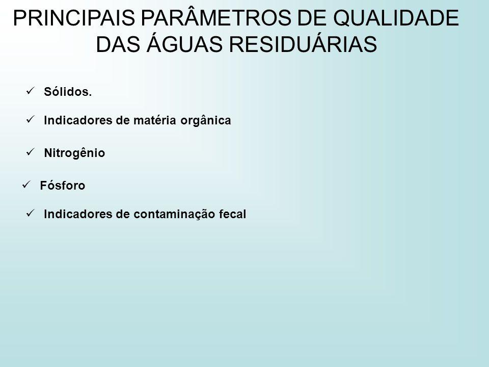 PRINCIPAIS PARÂMETROS DE QUALIDADE DAS ÁGUAS RESIDUÁRIAS Sólidos. Nitrogênio Indicadores de matéria orgânica Fósforo Indicadores de contaminação fecal