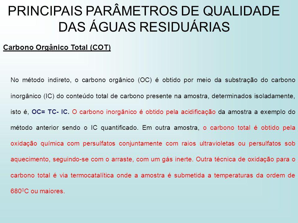 PRINCIPAIS PARÂMETROS DE QUALIDADE DAS ÁGUAS RESIDUÁRIAS Carbono Orgânico Total (COT) No método indireto, o carbono orgânico (OC) é obtido por meio da