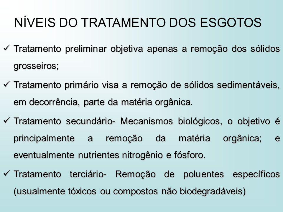 Tratamento preliminar objetiva apenas a remoção dos sólidos grosseiros; Tratamento preliminar objetiva apenas a remoção dos sólidos grosseiros; Tratam