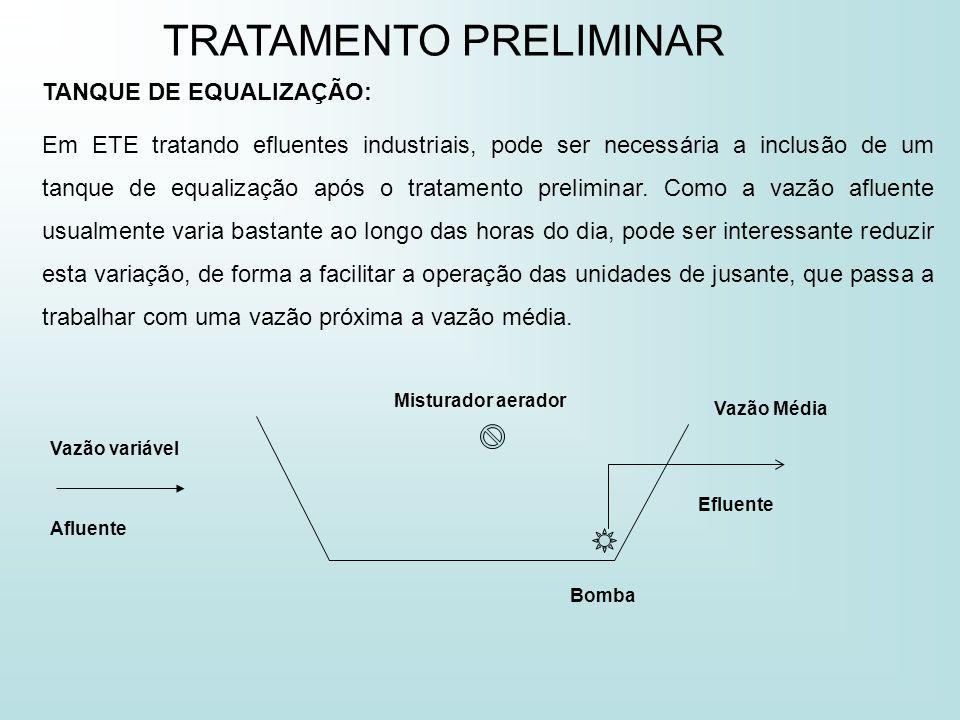 TANQUE DE EQUALIZAÇÃO: Em ETE tratando efluentes industriais, pode ser necessária a inclusão de um tanque de equalização após o tratamento preliminar.