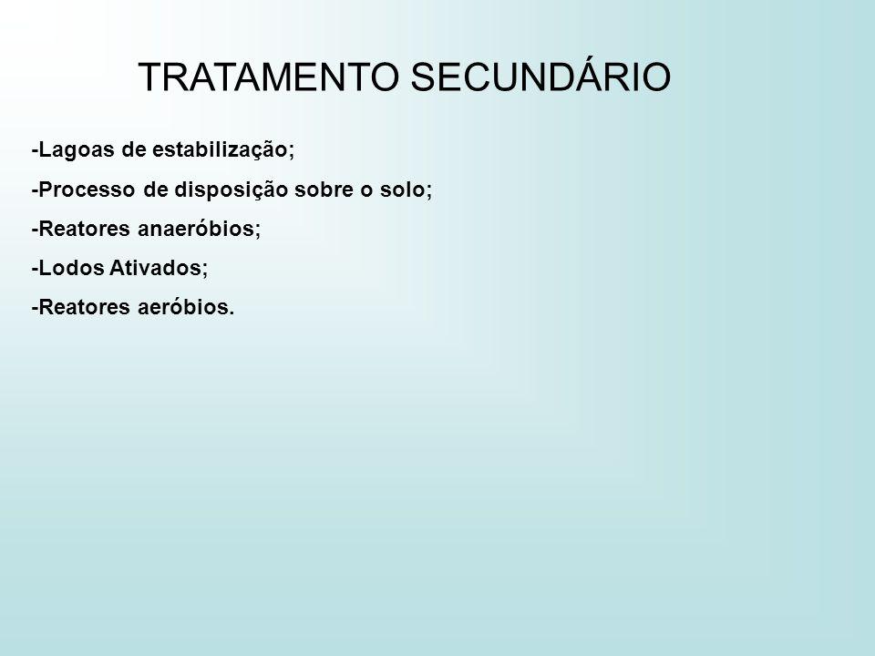 TRATAMENTO SECUNDÁRIO -Lagoas de estabilização; -Processo de disposição sobre o solo; -Reatores anaeróbios; -Lodos Ativados; -Reatores aeróbios.