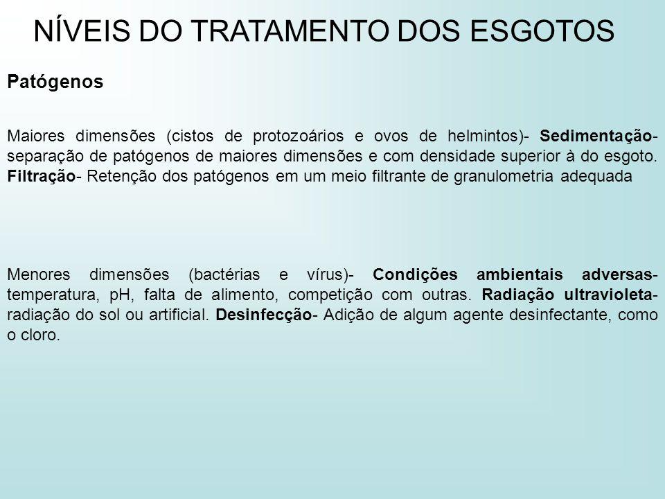 NÍVEIS DO TRATAMENTO DOS ESGOTOS Patógenos Maiores dimensões (cistos de protozoários e ovos de helmintos)- Sedimentação- separação de patógenos de mai