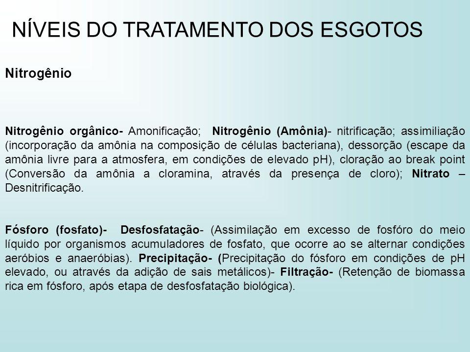 NÍVEIS DO TRATAMENTO DOS ESGOTOS Nitrogênio Nitrogênio orgânico- Amonificação; Nitrogênio (Amônia)- nitrificação; assimiliação (incorporação da amônia