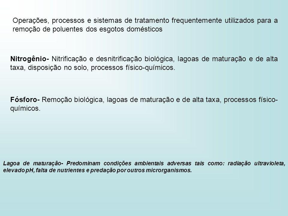 Operações, processos e sistemas de tratamento frequentemente utilizados para a remoção de poluentes dos esgotos domésticos Nitrogênio- Nitrificação e