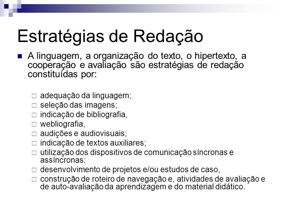 Estratégias de Redação A linguagem, a organização do texto, o hipertexto, a cooperação e avaliação são estratégias de redação constituídas por: adequa