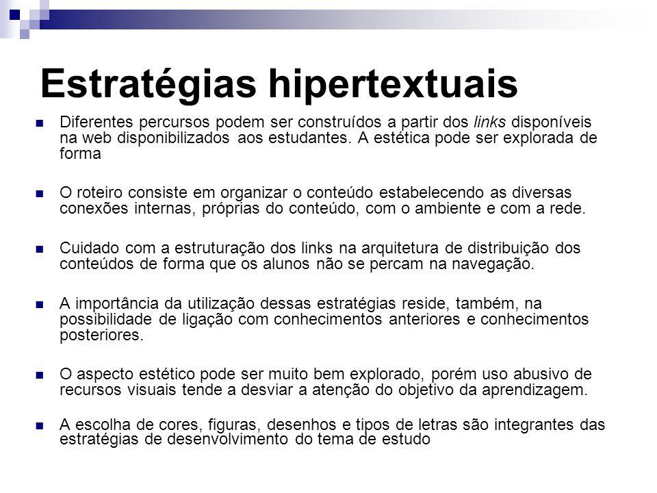 Estratégias hipertextuais Diferentes percursos podem ser construídos a partir dos links disponíveis na web disponibilizados aos estudantes.